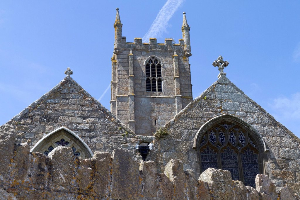 St. Ia parish church, St. Ives, Cornwall, England, Great Britain, Europe : Stock Photo