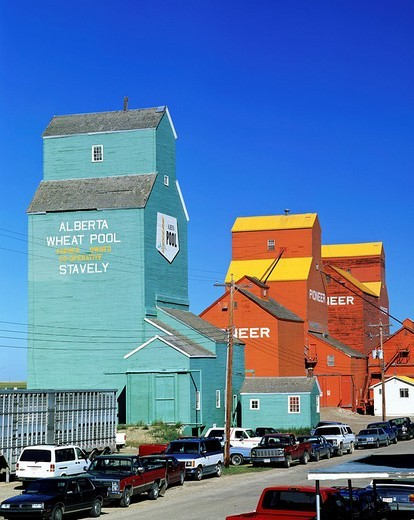 Stock Photo: 1848-60841 Alberta Wheat Pool Stavely, wheat silos, Alberta, Canada