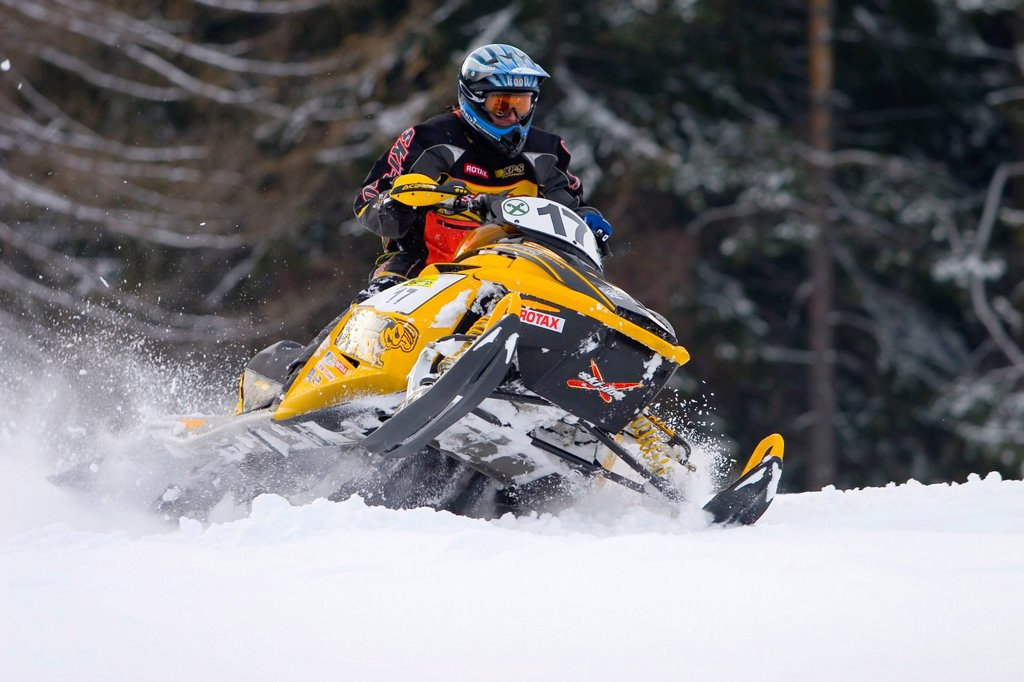 Stock Photo: 1848-608576 Skidoo snowmobile in action