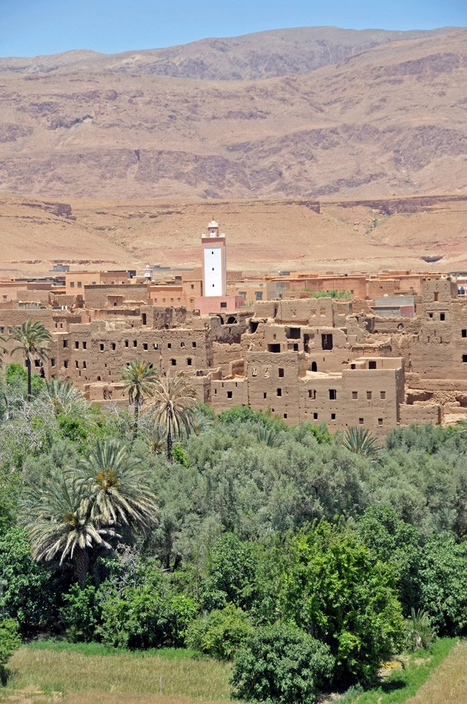 Stock Photo: 1848-608870 Partly dilapidated houses in the oasis city Tinerhir, Souss_Massa_Daraa, Morocco, Africa