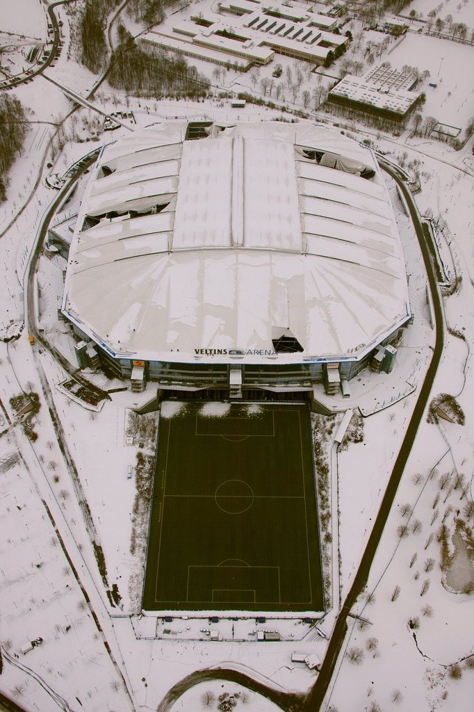 Stock Photo: 1848-608907 Aerial view, Veltins_Arena football stadium, also known as Schalke Arena stadium, snow_damaged roof, Gelsenkirchen, Ruhr area, North Rhine_Westphalia, Germany, Europe