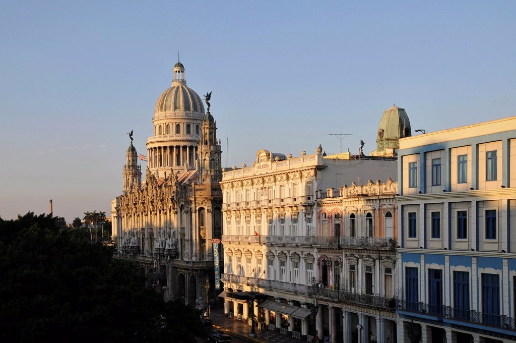 Stock Photo: 1848-608914 Early morning, National Capitol Building, Opera, Plaza Central square, historic district, Havana, Cuba, Caribbean, Central America