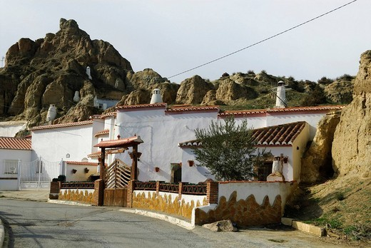 Cave buildings in Guadix, Granada province, Andalusia, Spain : Stock Photo