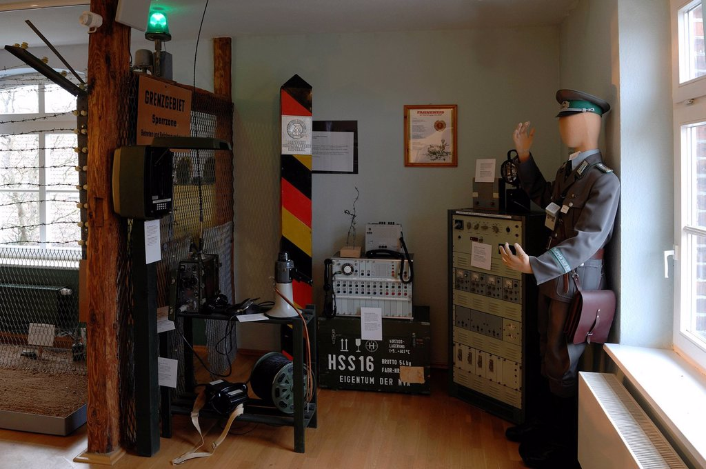 Stock Photo: 1848-609325 Showroom with historic border security equipment and a historic GDR boundary post, Grenzhus Museum, Neubauernweg 1, Schlagsdorf in the former border area, Mecklenburg_Western Pomerania, Germany, Europe