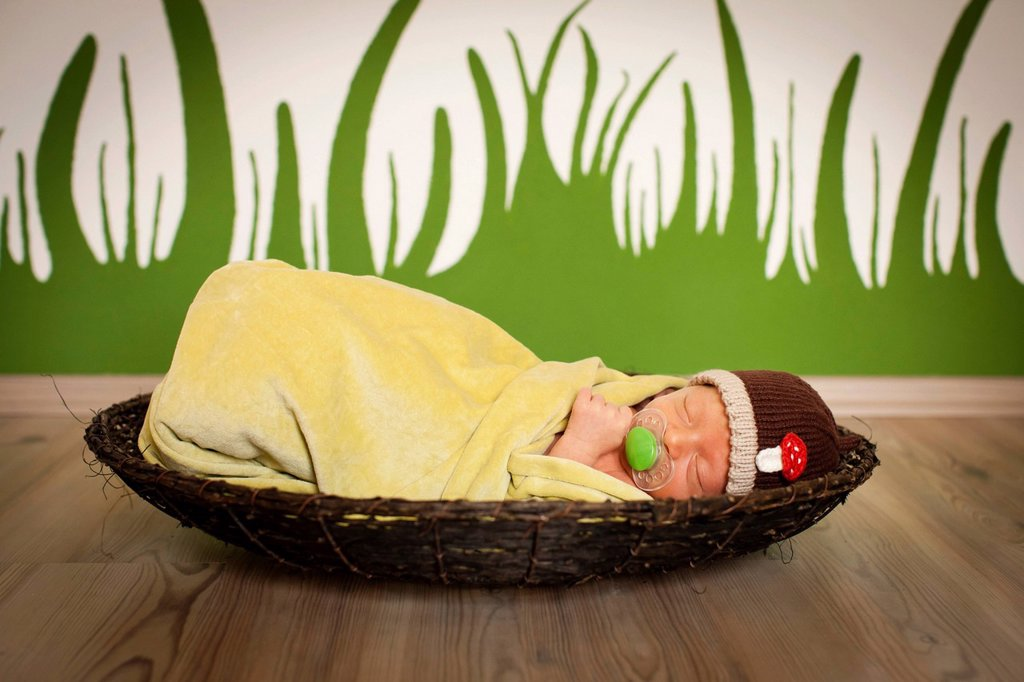 Newborn baby, one week old : Stock Photo