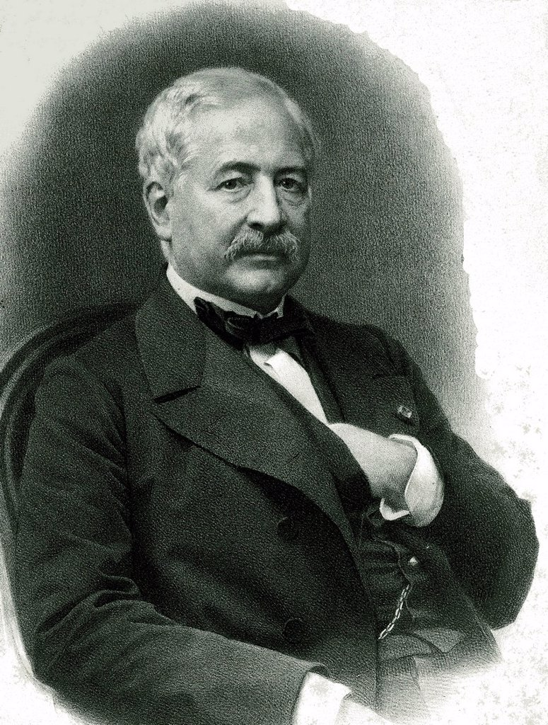 Ferdinand Marie, Vicomte de Lesseps, French developer of the Suez Canal, 1805 _ 1894, historical illustration from 1895 : Stock Photo