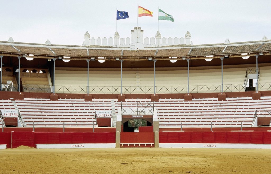 Bullfighting arena built in 1900, Sanlúcar de Barrameda, Costa de la Luz, Andalusia, Spain, Europe : Stock Photo
