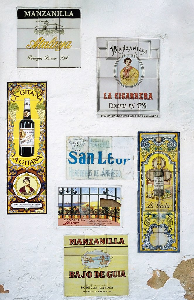 Stock Photo: 1848-609466 Tiled advertising signs for speciality Sherry Manzanilla, Sanlúcar de Barrameda, Costa de la Luz, Andalusia, Spain, Europe