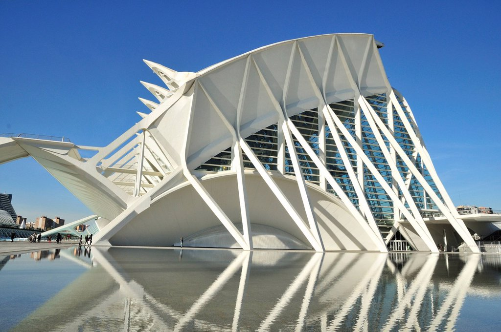 Stock Photo: 1848-609622 Museo de las Ciencias Principe Filipe in the Ciudad de las Artes y las Ciencias, City of Arts and Sciences, designed by Spanish architect Santiago Calatrava, Valencia, Comunidad Valenciana, Spain, Europe