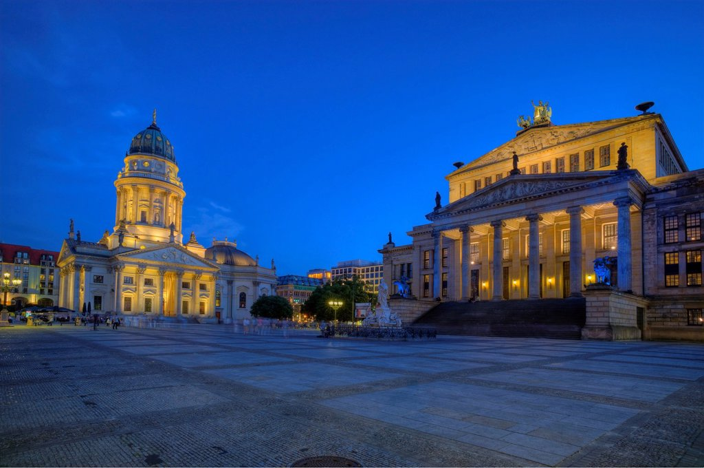 Stock Photo: 1848-609790 German Cathedral, to the right, Konzerthaus Berlin concert house, classical buildings, Gendarmenmarkt, Friedrichstadt, Berlin, Germany, Europe