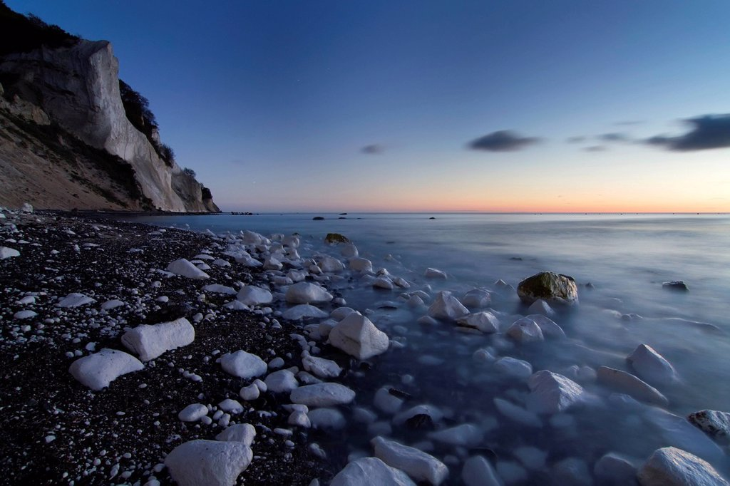 Stock Photo: 1848-609895 Moens Klint chalk cliffs at dawn, Moen island, Denmark, Europe