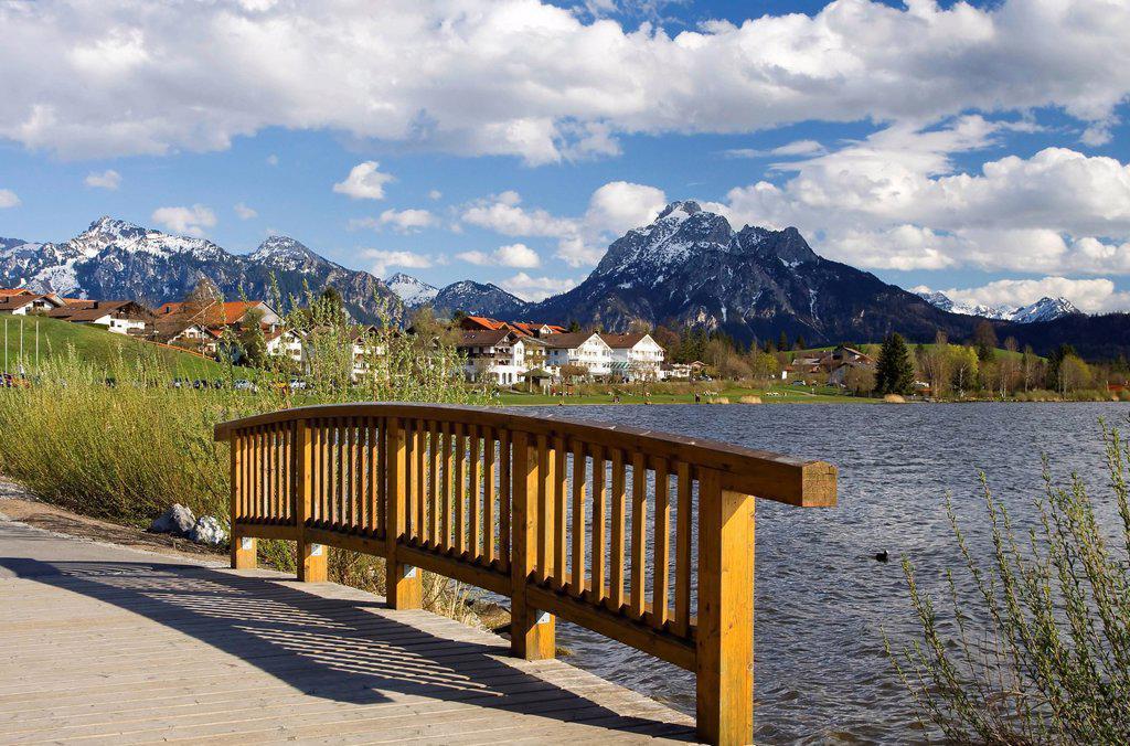Stock Photo: 1848-610111 Wood bridge on Lake Hopfensee, Hopfen am See, Bavaria, Germany, Europe