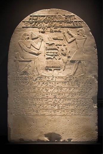 Ancient memorial stone at The Glyptotek in Copenhagen, Denmark : Stock Photo