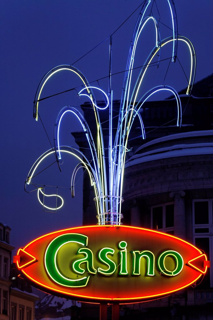 Stock Photo: 1848-610394 Neon sign with the lettering Casino, gambling casino in the health spa complex, Ardennes region, Liège province, Wallonia region, Belgium, Benelux, Europe