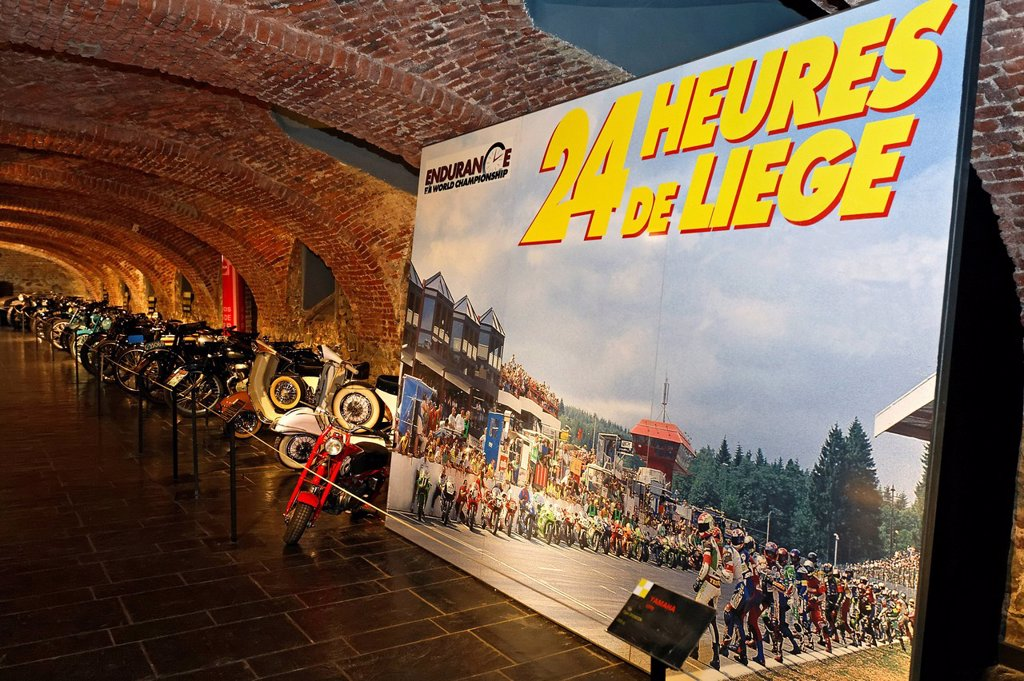 Stock Photo: 1848-610403 24 heures de Liège motor race, poster of the Endurance World Championship, museum of the Circuit de Spa_Francorchamps race track, Stavelot Abbey, Ardennes region, Liège province, Wallonia region, Belgium, Europe