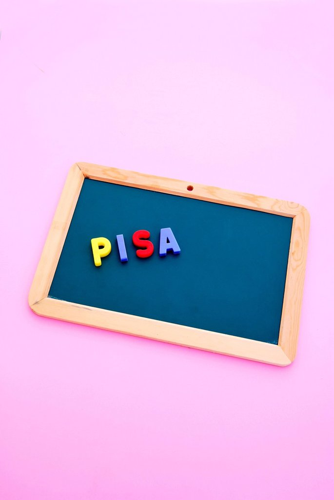 Stock Photo: 1848-610464 Pisa, lettering, Programme for International Student Assessment, multicoloured magnetic letters, blackboard