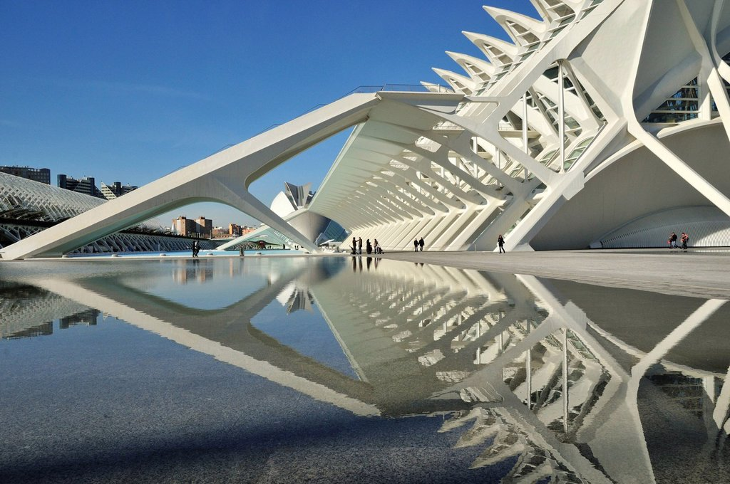Stock Photo: 1848-610502 Museo de las Ciencias Principe Filipe in the Ciudad de las Artes y las Ciencias, City of Arts and Sciences, designed by Spanish architect Santiago Calatrava, Valencia, Comunidad Valenciana, Spain, Europe