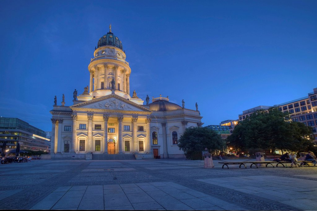 German Cathedral, Gendarmenmarkt, Friedrichstadt, Berlin, Germany, Europe : Stock Photo