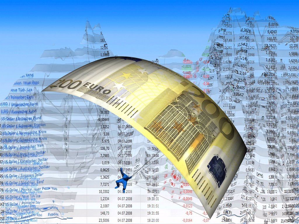 Stock Photo: 1848-610719 Parachute made of an euro banknote, stock prices, illustration, symbolic image for stock exchange