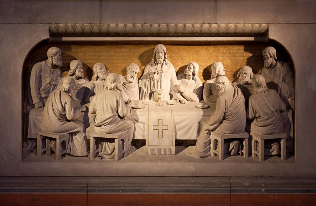 Stock Photo: 1848-610959 Relief of the Last Supper in the chancel of the Zwingli_Kirche Church, Berlin, Friedrichshain district, Germany, Europe