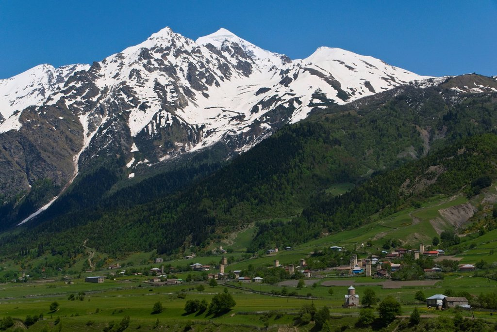 Stock Photo: 1848-611173 Alpine scenery with mountains and green valleys, Svaneti province, Georgia, Middle East