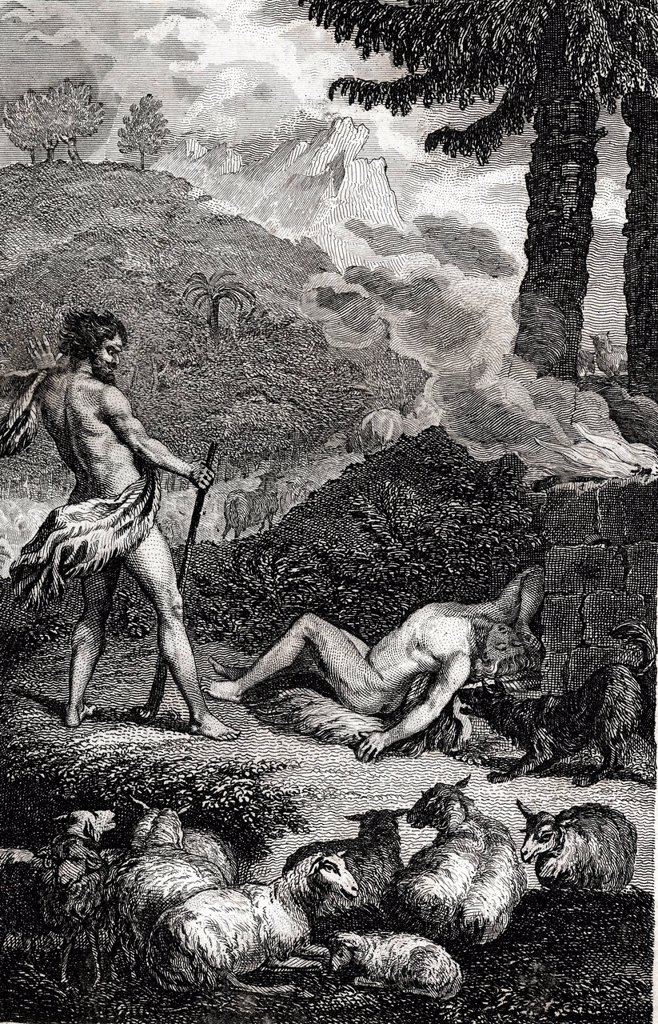 Stock Photo: 1848-611268 Cain has killed his brother Abel, biblical scene, historical illustration, 1865