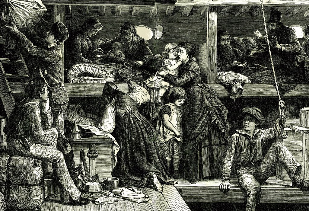 Stock Photo: 1848-611284 Interior of ship of emigrants to America, historical illustration