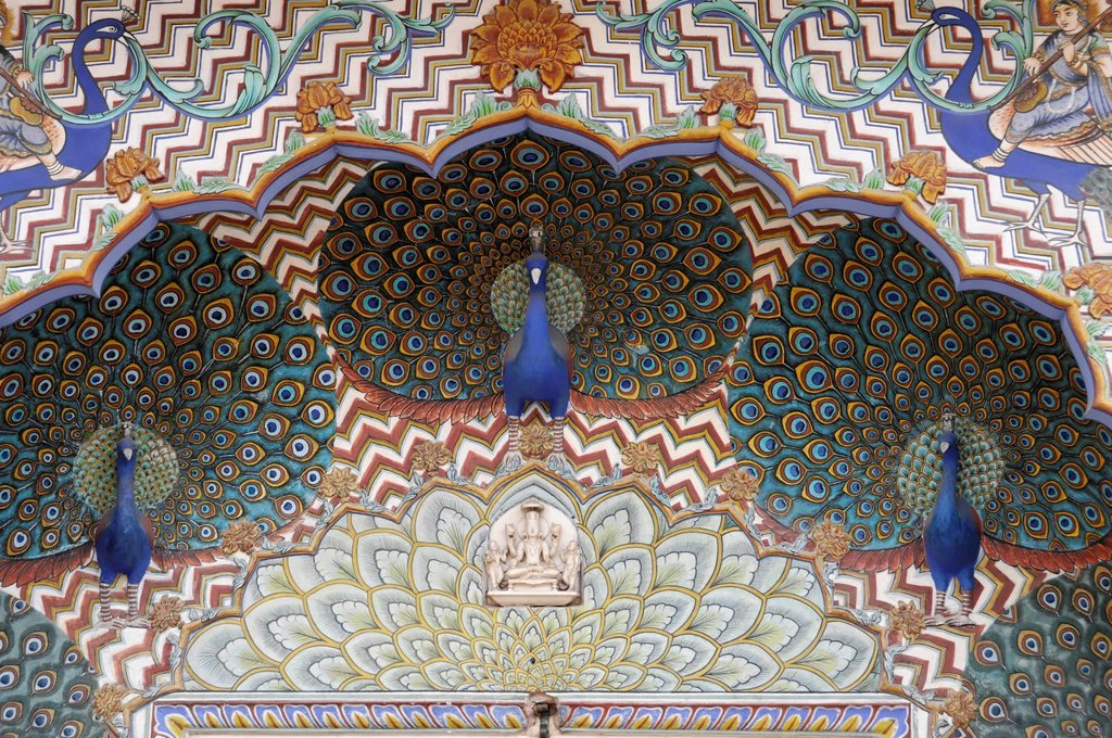 Stock Photo: 1848-611297 Ornate Peacock Gate in the City Palace, blue peacocks, Jaipur, Rajasthan, India, Asia