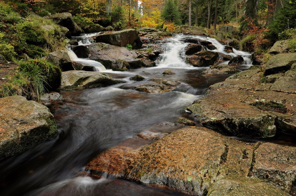 Stock Photo: 1848-611446 Waterfalls on the Bode River in autumn near Braunlage, Lower Saxony, Germany, Europe