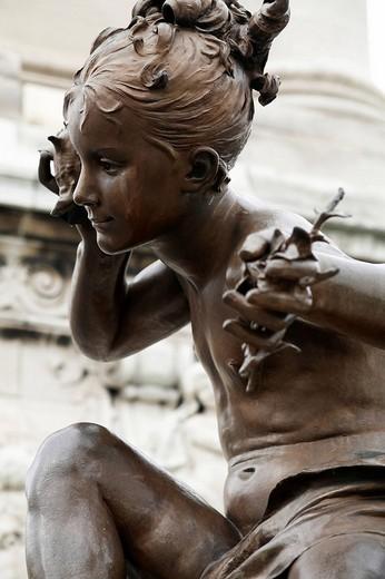 Bronze figure at Alexanderbruecke Bridge, Paris, France, Europe : Stock Photo