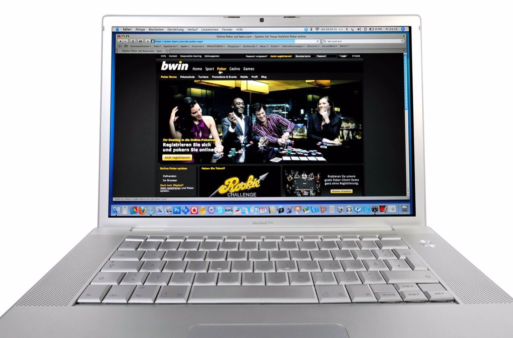 Stock Photo: 1848-611693 Poker online, BWin, Bet and Win, sports betting website, online betting, betting portal displayed on an Apple MacBook Pro
