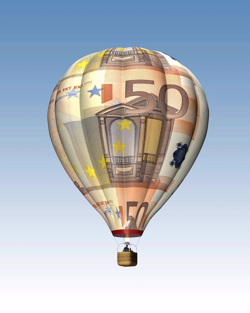 Stock Photo: 1848-611771 Hot air balloon from 50 euro banknotes, Illustration