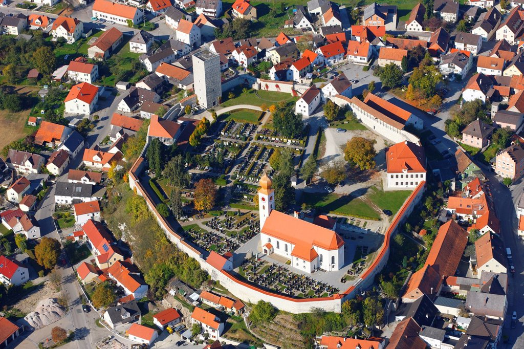 Stock Photo: 1848-611776 Aerial view, Vohburg an der Donau, Hollerdau, Bavaria, Germany, Europe