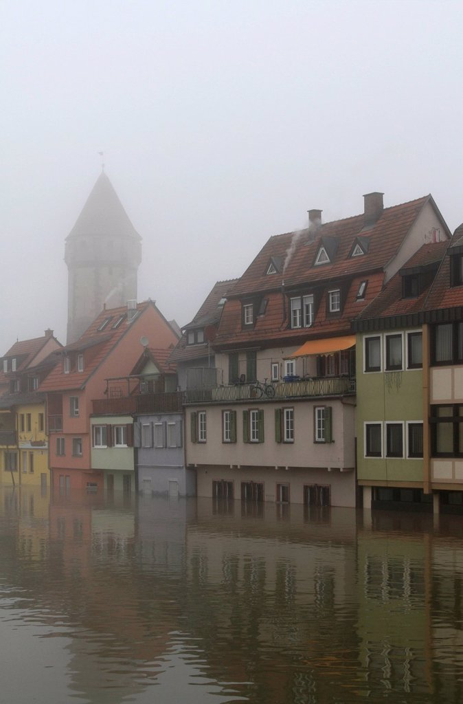 Stock Photo: 1848-611787 Floodwaters and fog, buildings on the bank of the Tauber river, seen from the Tauber river bridge on Bahnhofstrasse street from direction of Main estuary, Wertheim, Baden_Wuerttemberg, Germany, Europe