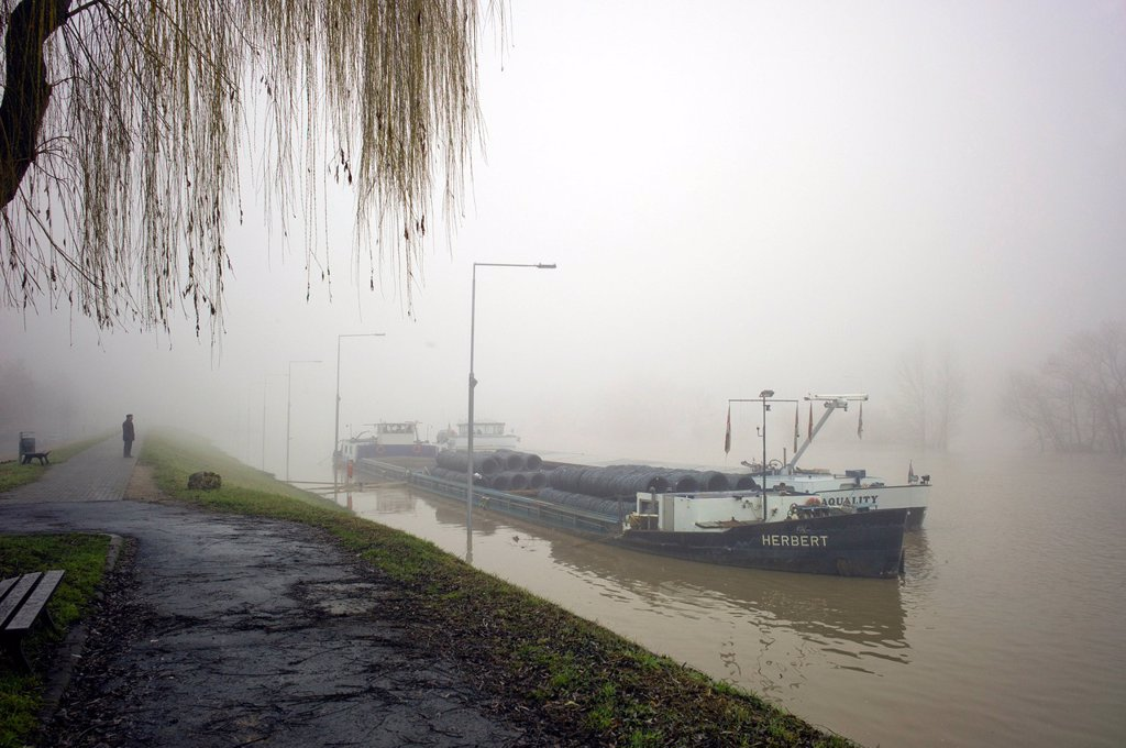 Ship anchored because of floodwaters on the Rhine river on a foggy day, flooded lock, Kostheim lock, Ginsheim_Gustavsburg, Germany, Europe : Stock Photo