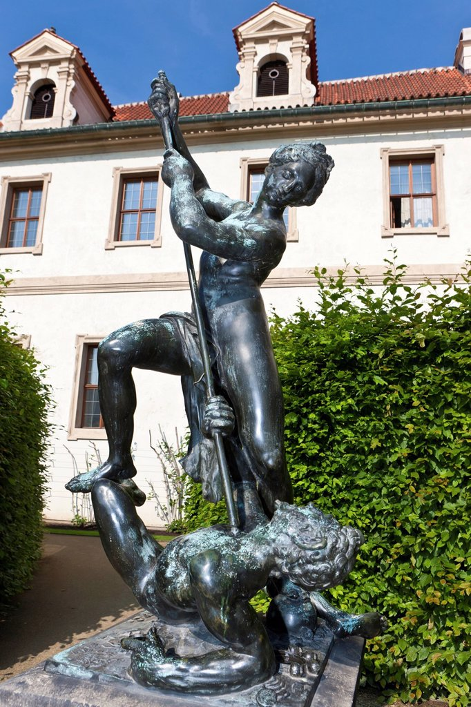 Wallenstein Palace and the castle garden, row of bronze statues, historic district, Prague, Czech Republic, Europe : Stock Photo