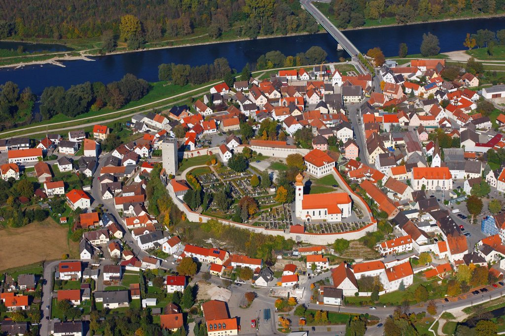 Aerial view, Vohburg an der Donau, Danube river, Hollerdau, Bavaria, Germany, Europe : Stock Photo