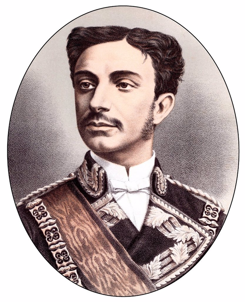 Historic chromolithography from the 19th century, portrait of Alfonso XII., also known as Alfonso Francisco de Asís Fernando Pío Juan María de la Concepción Gregorio Pelayo de Borbón y Borbón, 1857 _ 1885, King of Spain : Stock Photo