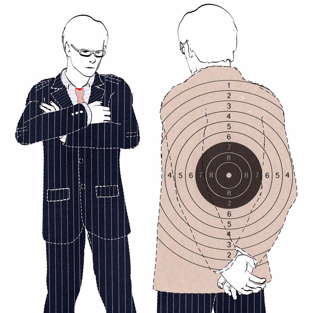 Stock Photo: 1848-612987 Colleague or co_worker with a target mark on his back, symbolic image for bullying, illustration