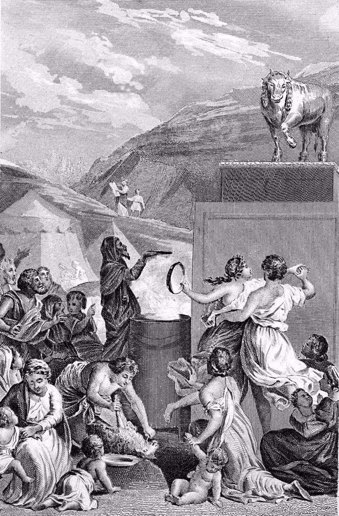 Adoration of the Golden Calf, biblical scene, historical illustration, 1872 : Stock Photo