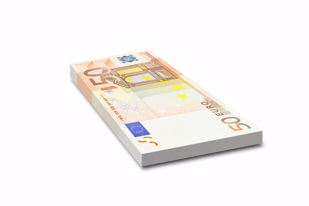 Bundle of 50 euro bank notes : Stock Photo