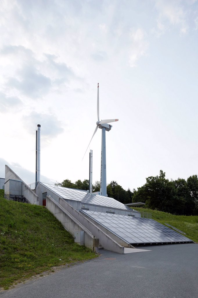 Stock Photo: 1848-613394 Wind turbine and photovoltaic system, eco_park, Hartberg, Austria, Europe