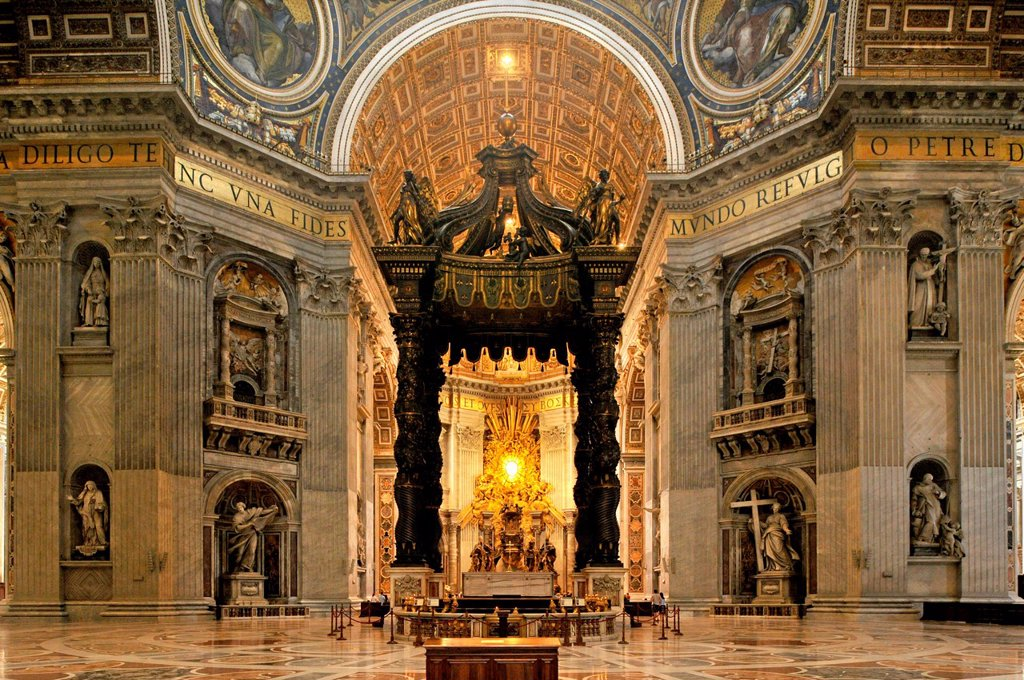 Stock Photo: 1848-613585 St. Peter´s baldachin, Bernini´s baldachin above the papal altar on the crossing of St. Peter´s Basilica, Vatican City, Rome, Lazio region, Italy, Europe