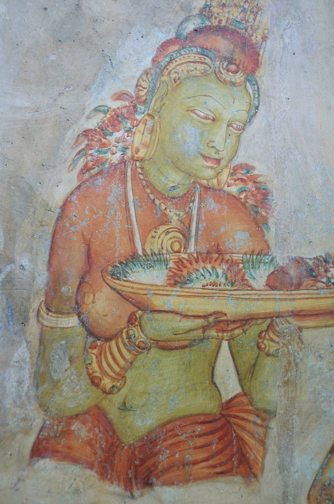 Stock Photo: 1848-613644 Cloud Maiden, frescoes from the 5th century on the Lion Rock, rock fortress, UNESCO World Heritage site, Sigiriya, Sri Lanka, Asia