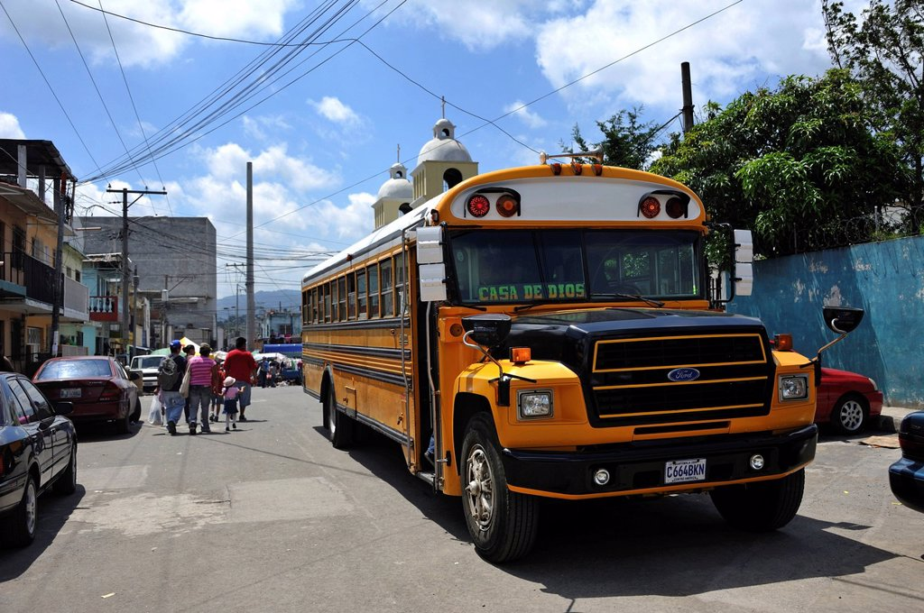 Public bus, El Mesquital slum, Guatemala City, Guatemala, Central America : Stock Photo