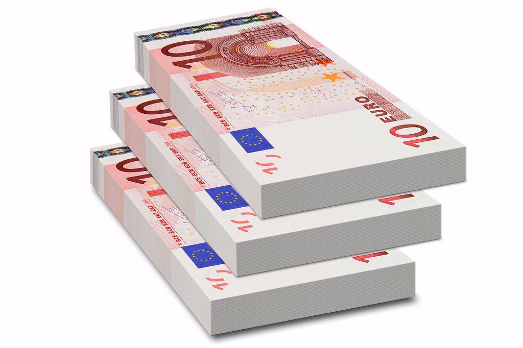 Stock Photo: 1848-614203 Bundles of 10 euro bank notes