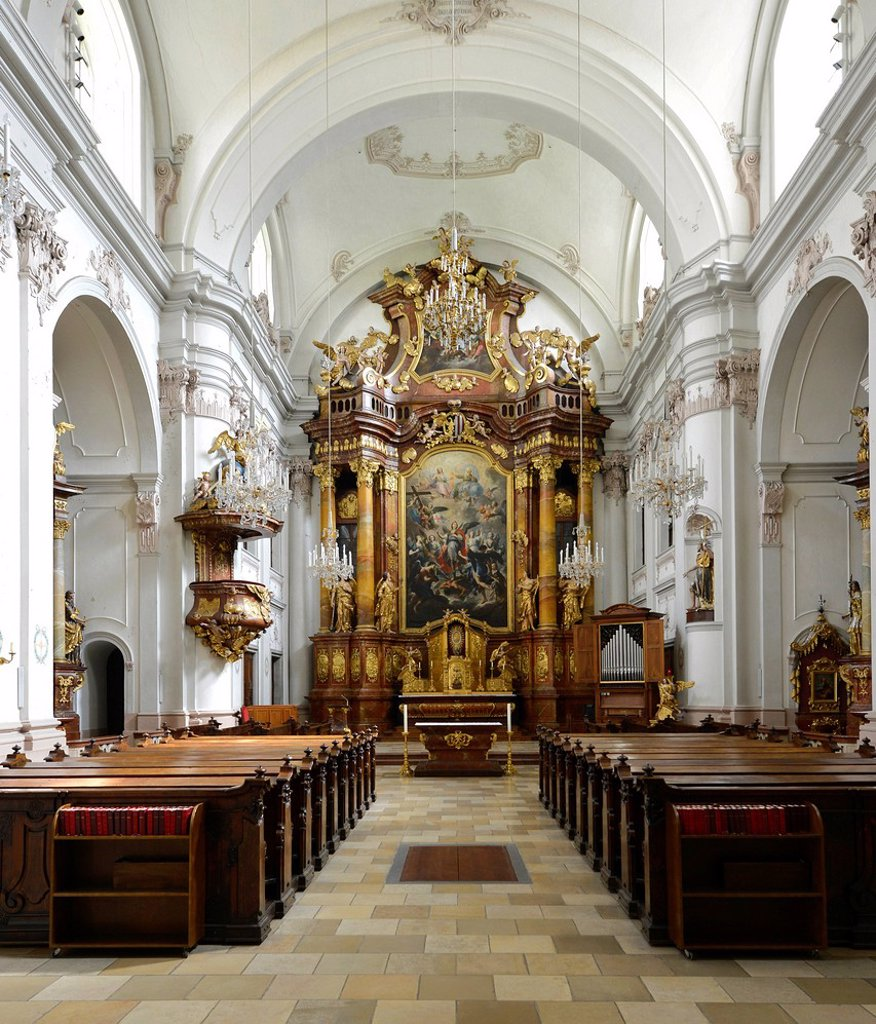 Stock Photo: 1848-614487 Interior view, high altar with archangels after Martino Altomonte, former Ursuline church, monastery church, after Johann Haslinger, cultural heritage, Linz, Upper Austria, Austria, Europe