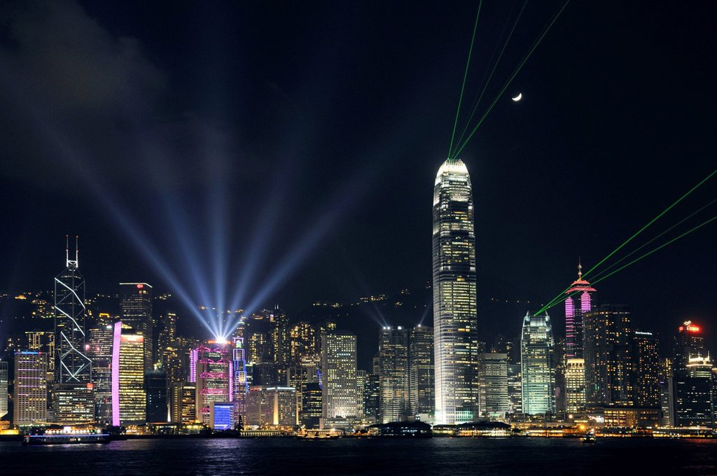Stock Photo: 1848-614597 Skyline of Hong Kong Island with a laser show, China, Asia