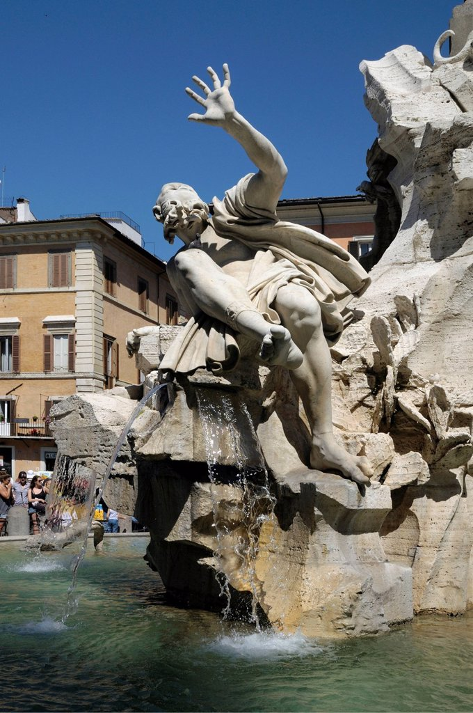 Stock Photo: 1848-615120 Fountain of the Four Rivers, designed by Bernini, Piazza Navona, Rome, Italy, Europe