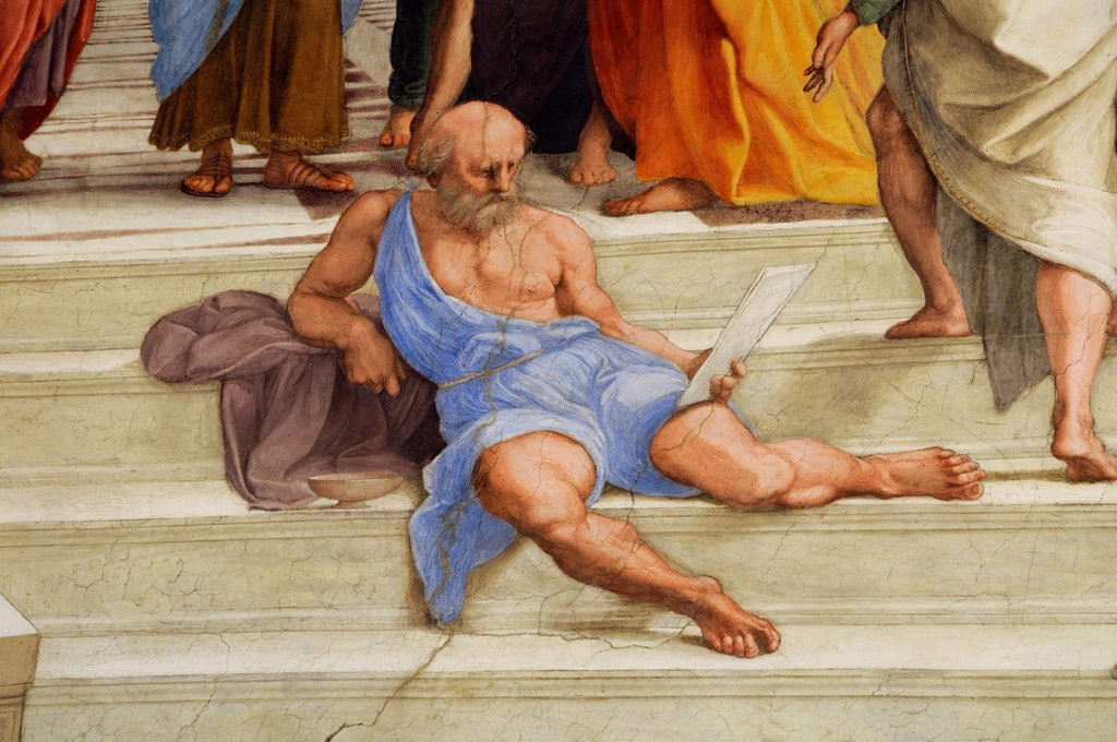 Stock Photo: 1848-615133 Portrait of Michelangelo, detail from the painting, The School of Athens by Raphael, Stanza della Signatura, Vatican Museums, Rome, Italy, Europe